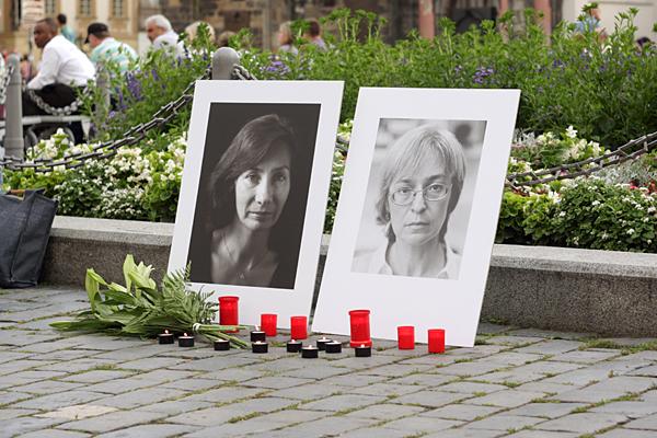 Memorial meeting for murdered Russian human rights activist Natalia Estemirova. Prague 2009.